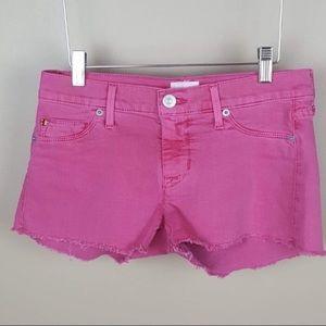 Hudson pink amber raw hem jean shorts size 25